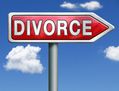 Divorce road-sign arrow pointing ahead